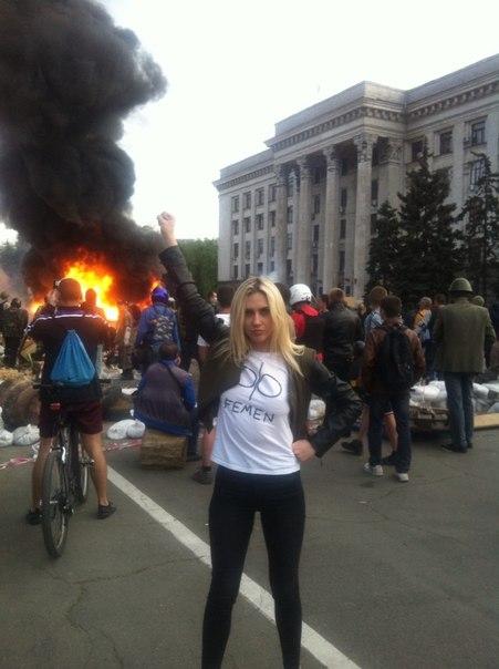 Miembra de FEMEN en la masacre fascista de Odesa
